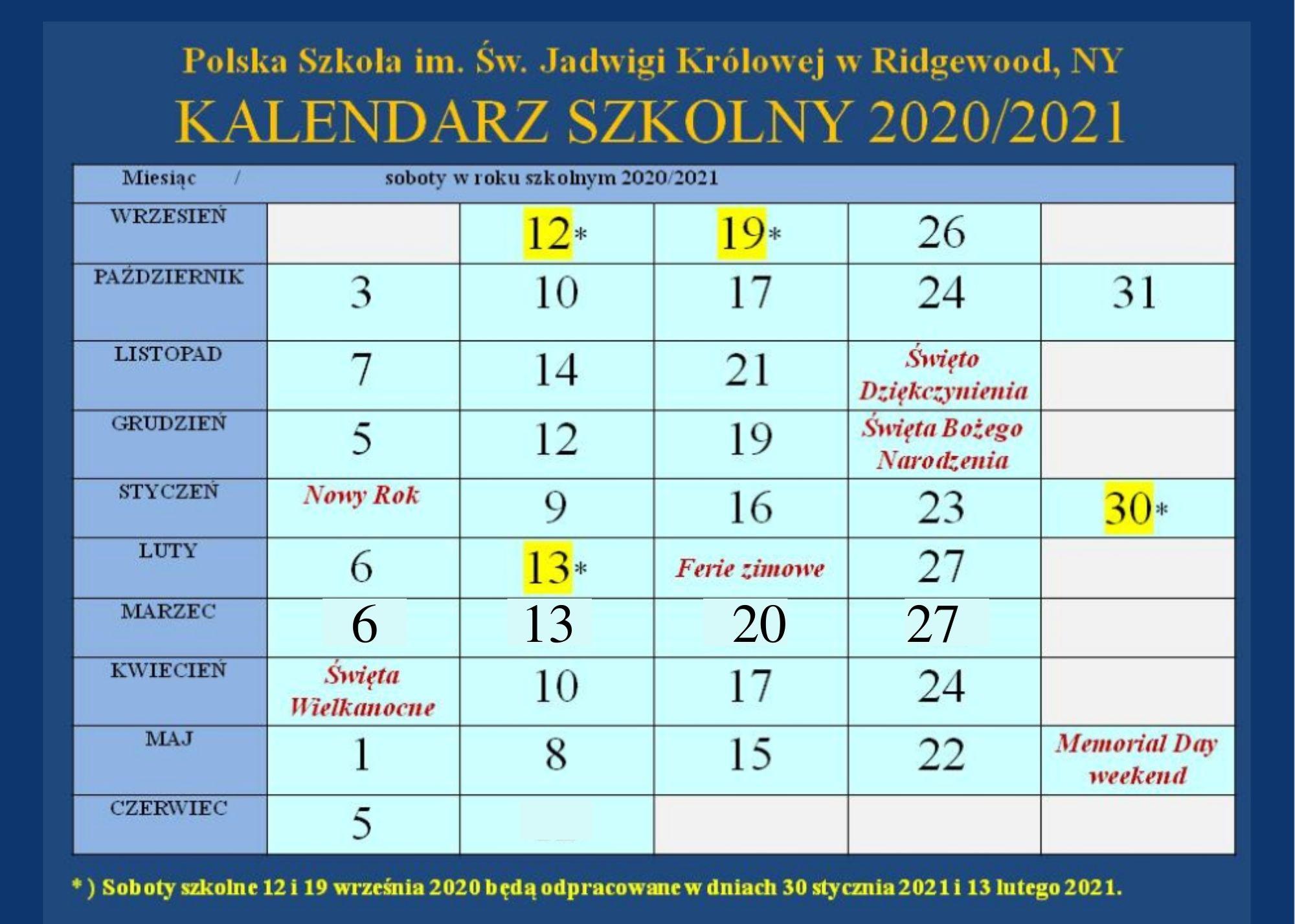 kalendarz numeryczny 2020-21 na storne intern.